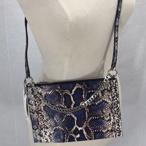 ZARA Printed leather crossbody clutch bag blue NWT
